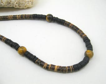 Mens tigers eye necklace, mens necklace tigers eye, tiger eye stone necklace, tigers eye mens, boys tigers eye boys, surfer necklace tigers