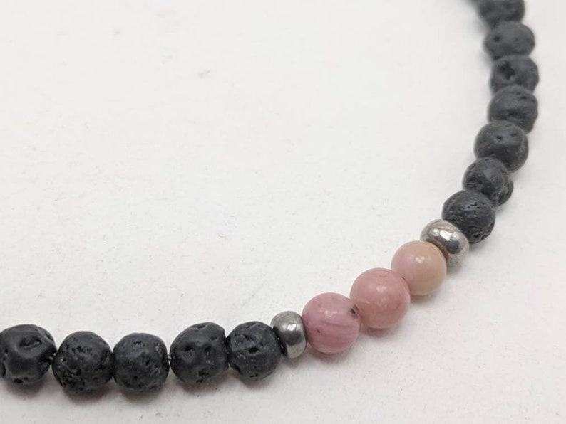 pink rhodonite necklace in black lava Girls diffuser bead necklace teens women black lava diffuser necklace for girls pink choker