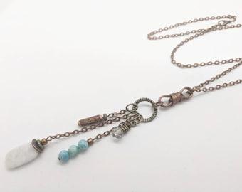 long boho necklace, aqua turquoise necklace, white amazonite stone, long womens necklaces, ladies healing crystals Bohemian style JT Maui