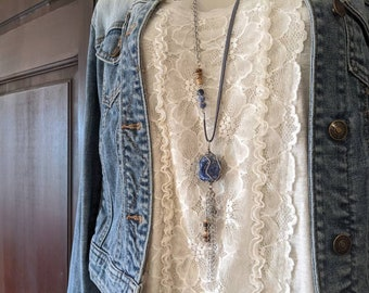 long lapis necklace, extra long blue necklace in lapis lazuli and silver, boho chic style jewelry by JT Maui