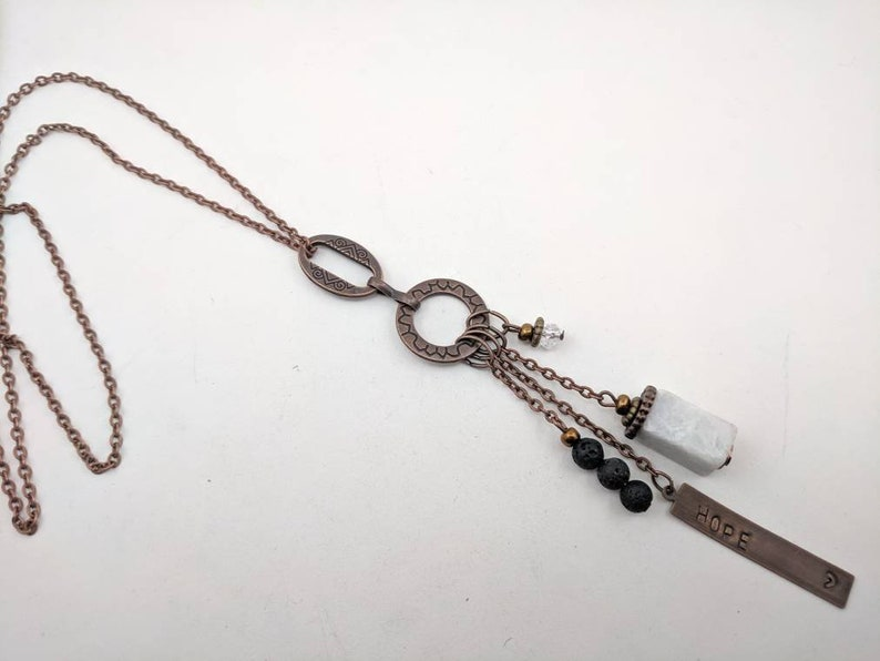 personalized with white amazonite copper and lava or green serpentine Stones your choice long boho necklace