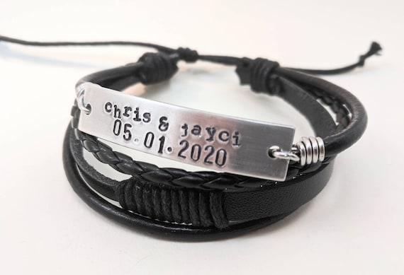 Custom-stamped jewelry Men jewelry customized Personalized unisex vegan bracelet hand stamped bracelet.