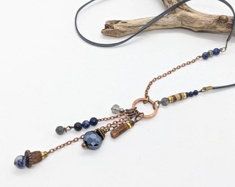 long boho necklace, long Blue necklace in lapis and sodalite, long womens necklaces in ladies Bohemian style by JT Maui