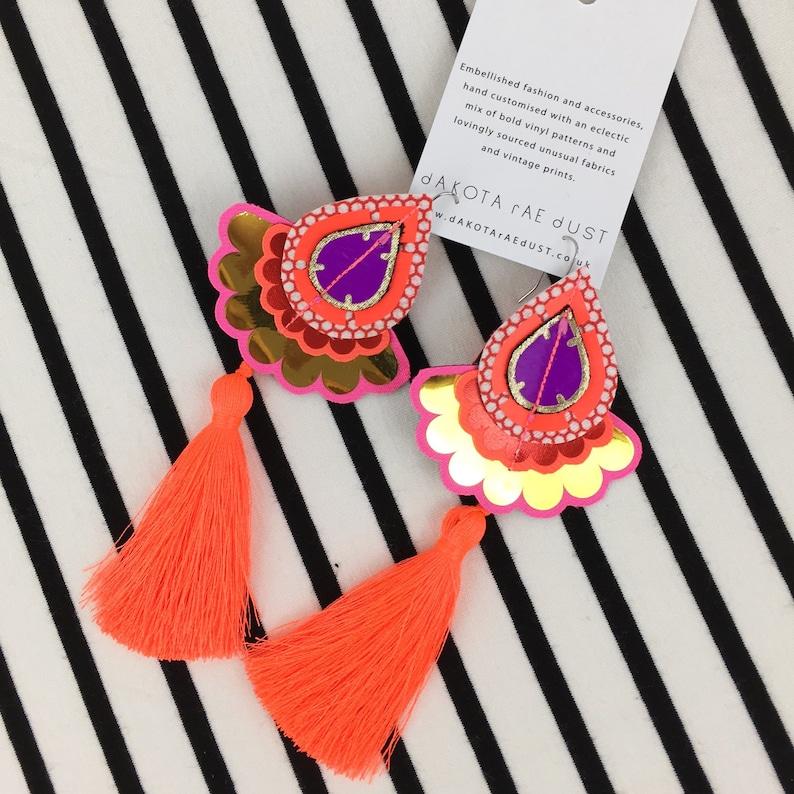 COLOURFUL TASSEL EARRINGS in neon orange red purple and image 0