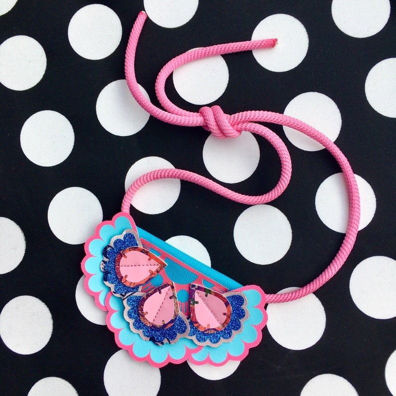 Festival jewellery. STATEMENT BIB NECKLACE in glittery blue Vintage floral fabric textile jewellery bubblegum pink  and turquoise