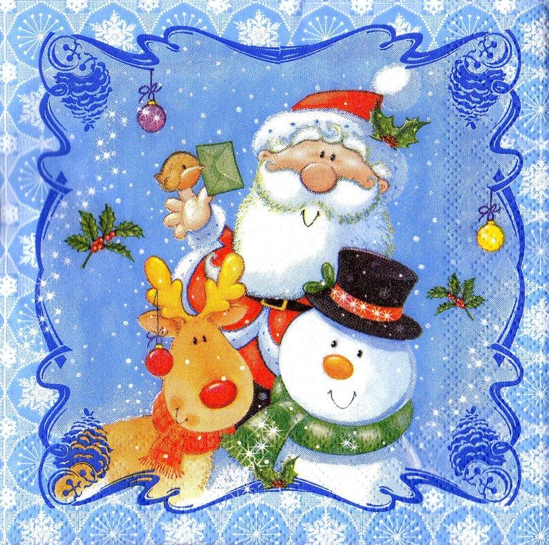 winter train with santa Christmas X166 4 Single paper decoupage napkins
