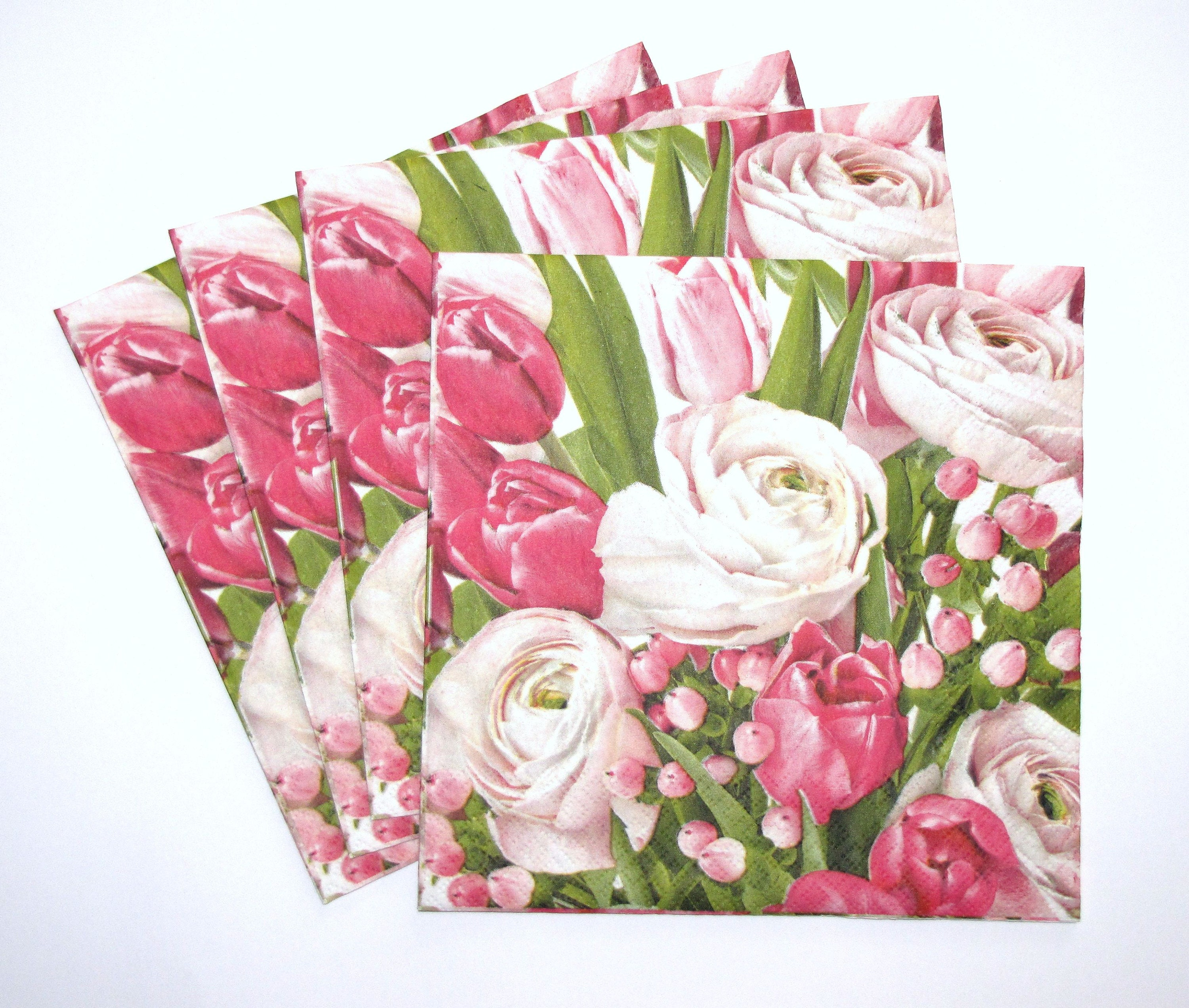 4 Single Paper Napkins for Decoupage Tulips