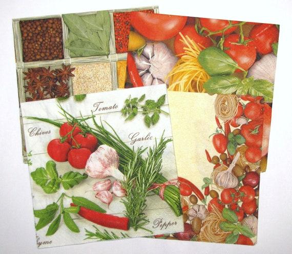 Mixed Decoupage Napkins Set, Assorted 3ply Paper Napkins, Green Herbs Basil  Napkins, Spices Napkins, Tomatoes Garlic Napkin 13\u0027\u0027 33cm, MIX03