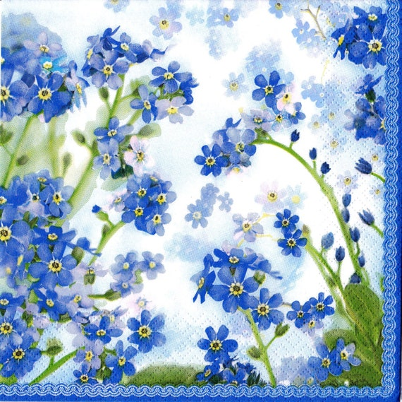 6 Decoupage Paper Napkins Beautiful Flowers Blue Floral Etsy