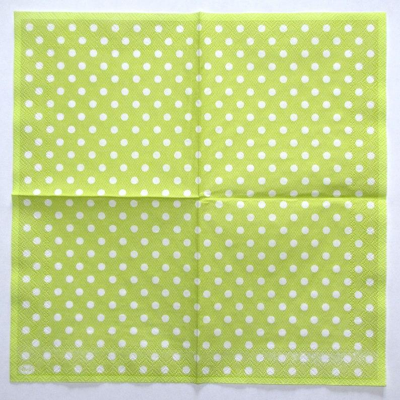 4 Decoupage Napkins White Polka Dots on Green DOT04 Craft Paper Tracery polka dots 3 ply Paper Napkins 10/'/' 25cm Background Napkins
