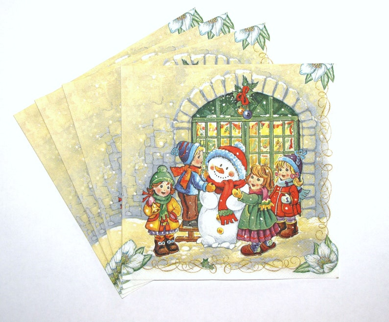 4 Single paper decoupage napkins winter Christmas snowman family -X137