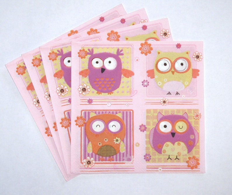 33 x 33cm 3-ply 4 Individual Napkins for Craft and Napkin Art. 4 Paper Napkins for Decoupage Signed Owl