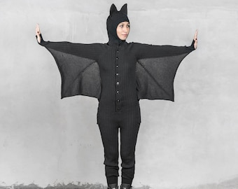 BAT ONESIE Festival Costume for Men and Women - Blamo Animal Kigurumi - Black Bat -  sc 1 st  Etsy & Halloween costumes | Etsy