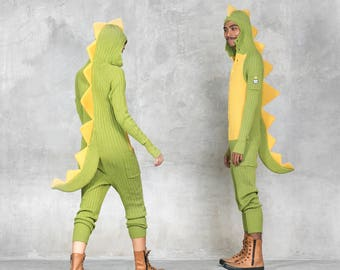DINOSAUR ONESIE - Unisex Dino Suit - Cozy Dino Costume - One Piece Jumpsuit Three Pockets - Knit Spikes and Tail - Adorable Comfy Costume