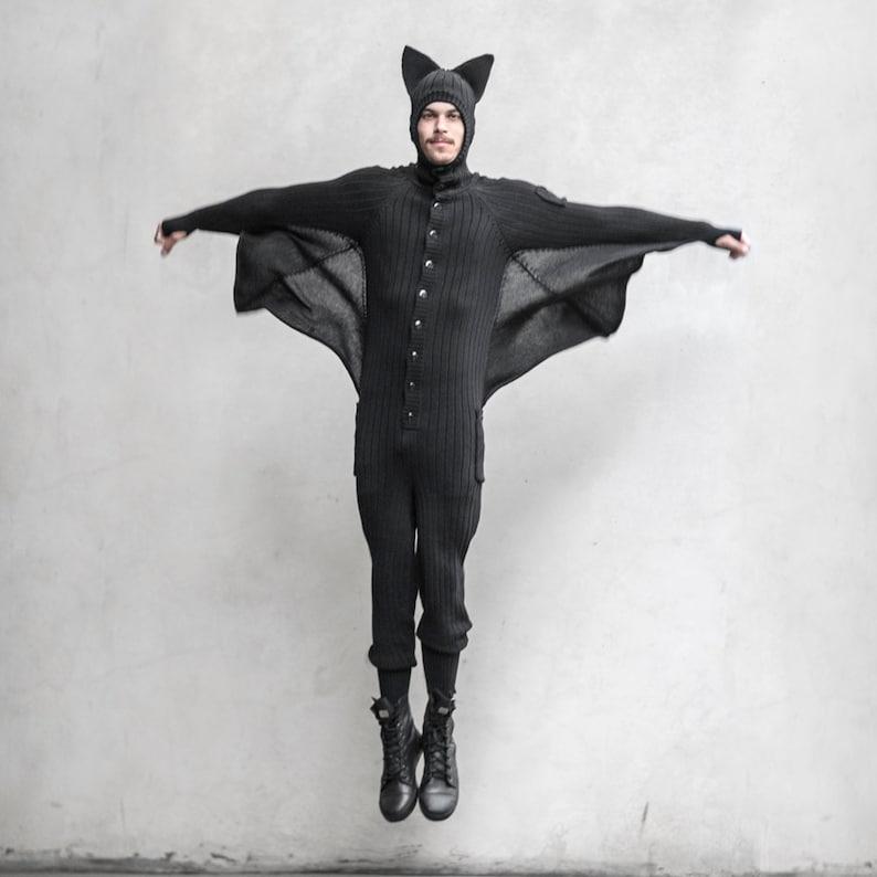159955aa44d9c BAT ONESIE - Unisex Creature Jumpsuit - Blamo Animal Kigurumi - Black Bat -  Unique PJs One Piece Suit - Birthday Gift for Vampire