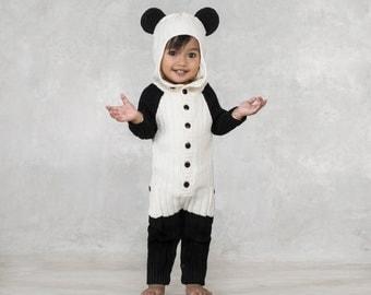 PANDA BEAR Costume for kids- Child's Animal Suit - Panda Romper for Toddler - Handmade Knit Cozy Panda Halloween Costume - Warm Kid's Jumper