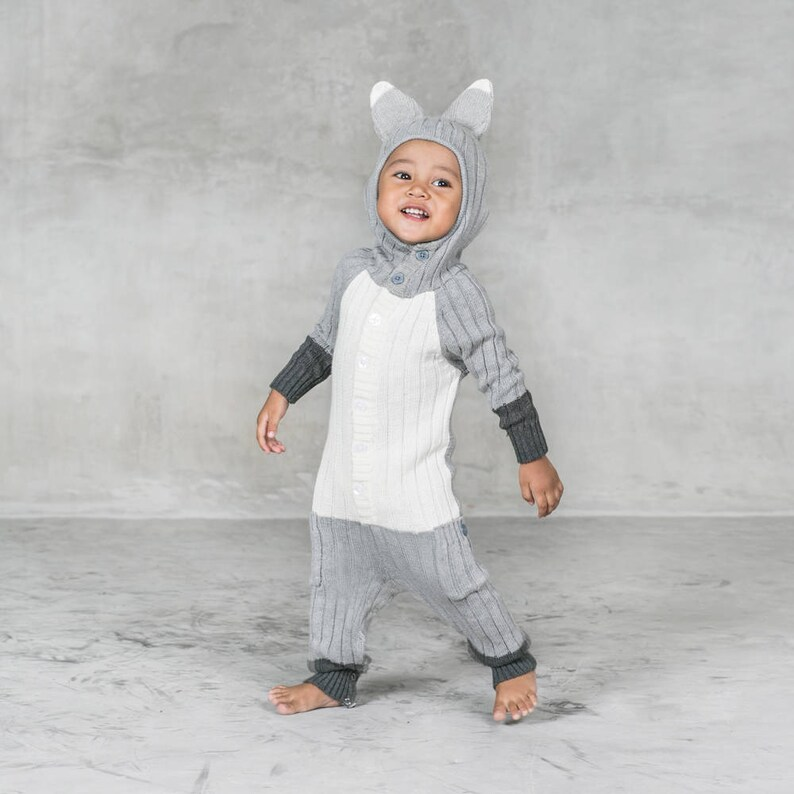 333749f23 Baby Silver Fox Suit Cozy Winter Costume Handmade Knit