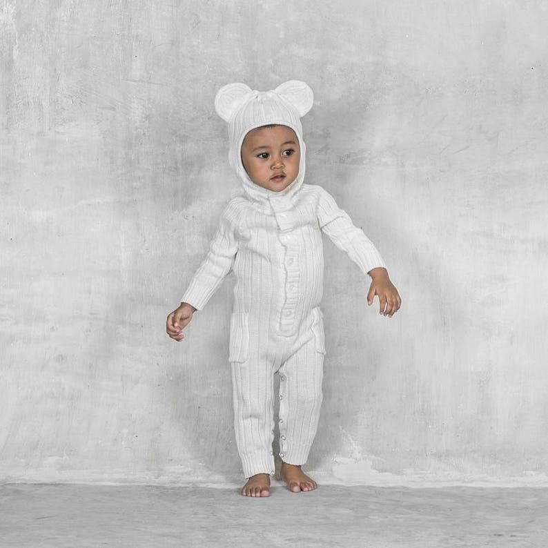 cd1c5b36b8368 Baby Polar Bear Jumper Handmade Knit Animal Toddler Romper   Etsy