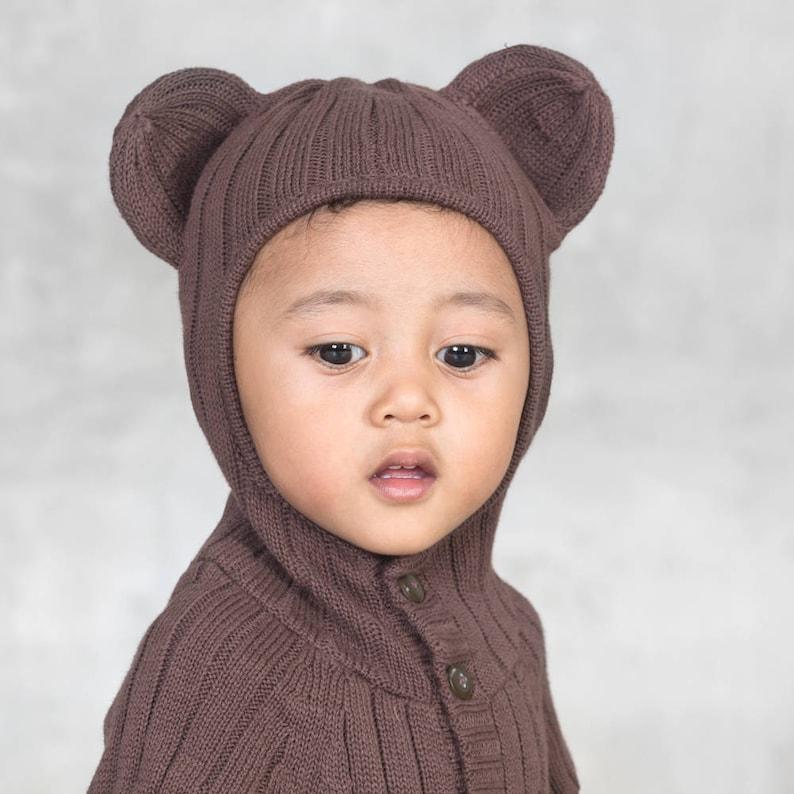 e752cdb5ebb62 Baby Bear Jumper - Cozy Baby Romper - Handmade Knit Animal Toddler Costume  - Blamo Baby Brown Bear - Detachable Tail - Kids Halloween Ideas