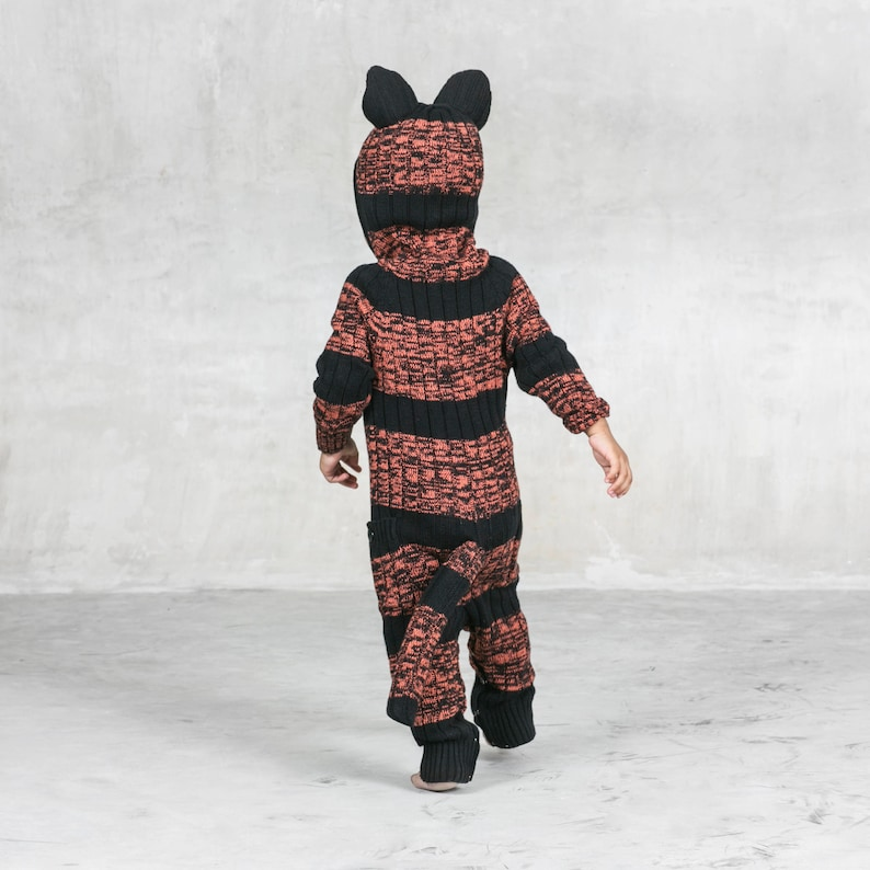 dfb724a99ceef Tiger Suit for Baby and Toddler - Handmade Knit Animal Romper - Blamo Baby  Tiger Costume - Cozy Spring Animal Onesie - Creature PJ's