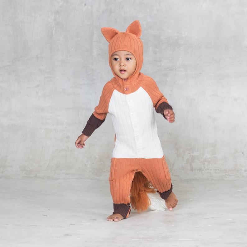 5111f44f19d18 Baby Fox Suit - Costume Onesie - Handmade Knit Animal Toddler Romper -  Unique Jumper - Cozy Summer Baby Costume - Animal PJ's - Orange Fox