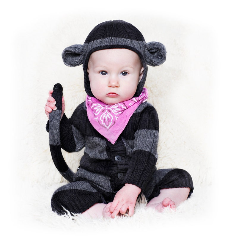 bf4a2534b MONKEY Suit Baby Onesie Costume for Kids Handmade Knit | Etsy