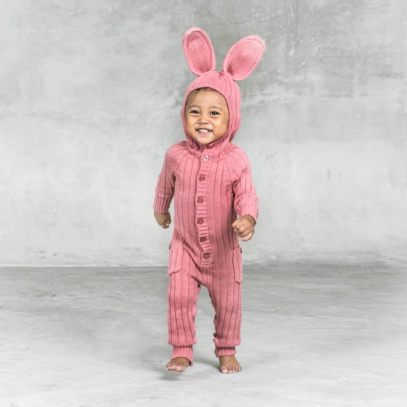 14baeec1cbf4a BUNNY SUIT for Baby and Toddler - Costume Animal PJs - Unique Handmade  Woven Cotton Pink Rabbit Kid's Romper - Mommy and Me Matching Outfit