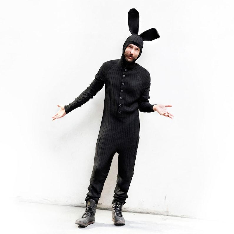 c5c90fa1671 BLACK BUNNY Costume Adult Jumpsuit for Men   Women Cotton