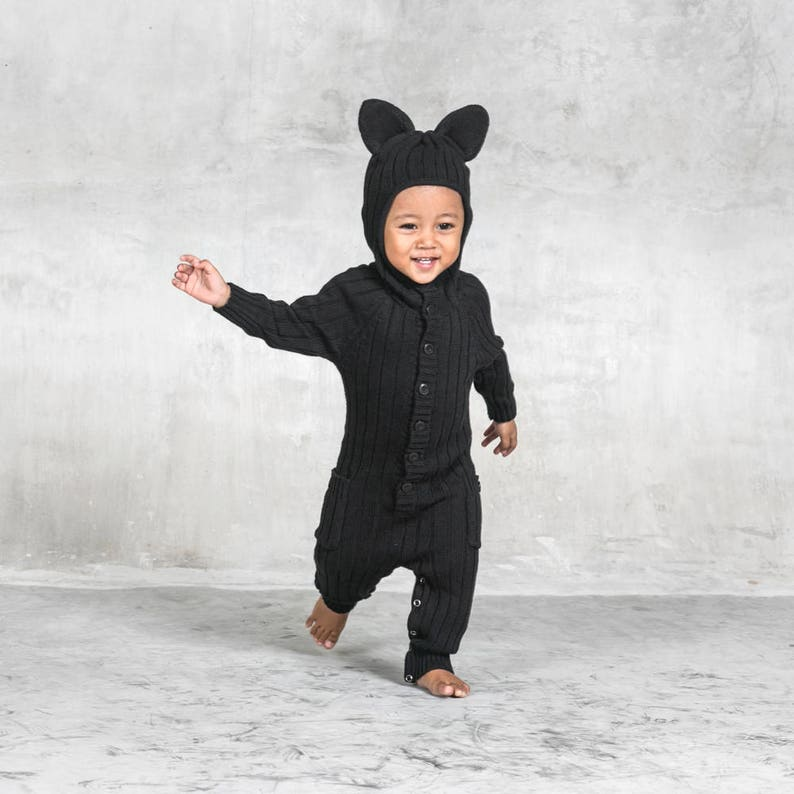 84bf00c6c2805 Panther Toddler Costume for Baby and Toddler - Handmade Knit Animal Romper  - Blamo Black Cat - Unique Child's Jumper - Spring Baby Clothing