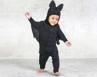 BAT SUIT Baby Bat Halloween Costume for Toddler - Designer Bat Costume - Handmade Knit Cotton Bat Kid's Cozy Romper - Blamo Toddler Batsuit