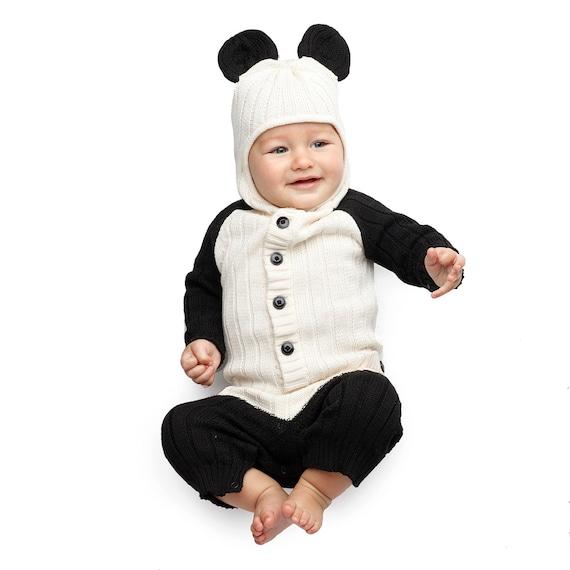 560c7238f6f2f PANDA BEAR Costume - Child's Animal Suit - Panda Baby Romper for Toddler -  Handmade Knit Cozy Costume - Warm Kid's Jumper - Baby Shower Gift