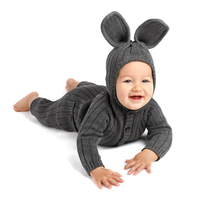79113e93346b4 BUNNY Costume Animal Suit for Baby & Toddler - Handmade Woven Cotton Gray  Rabbit Romper - Kid's Birthday Gift - Blamo - Mommy and Me Outfits