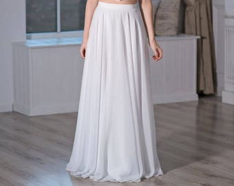Iris - slim and flat chiffon bridal skirt
