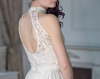 READY TO SHIP: keyhole back bridal top / lace and satin bridal top / open back bridal top / open back lace bridal top