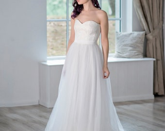 Heather - strapless wedding dress