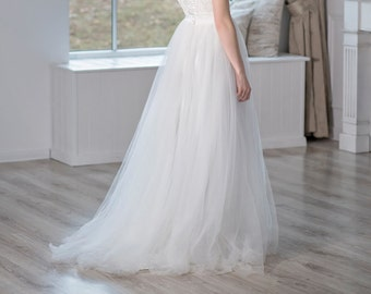 Heather -  soft tulle bridal skirt with a train