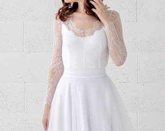 Yona - bridal lace bodysuit with V neck illusion neckline