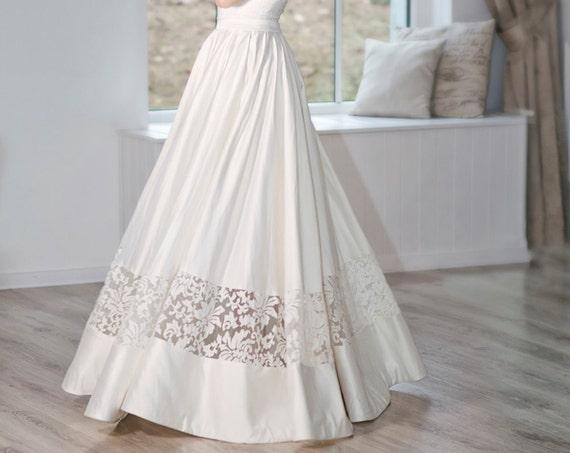 READY TO SHIP: satin bridal skirt / satin wedding skirt / lace panel bridal skirt / lace insert skirt / ivory bridal skirt