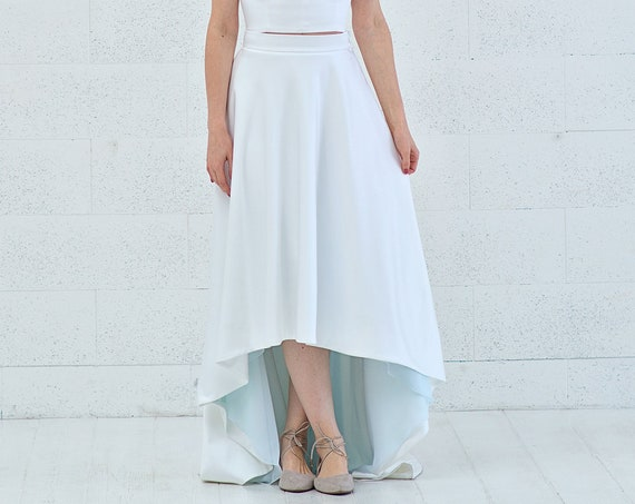 Vivian - high low bridal skirt with a touch of color