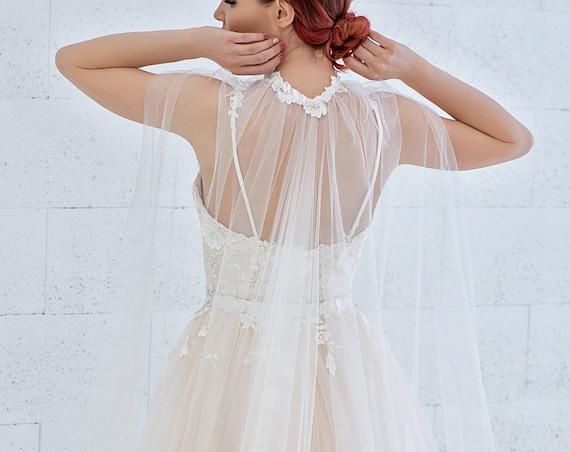 Dahlia - floral bridal cape