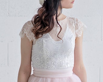 Cleo - cap sleeve bridal top / romantic bridal lace top / pearly button back wedding top / romantic wedding top / bridal separate lace top