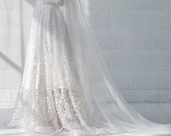 Willow - bridal lace overskirt with leaf pattern