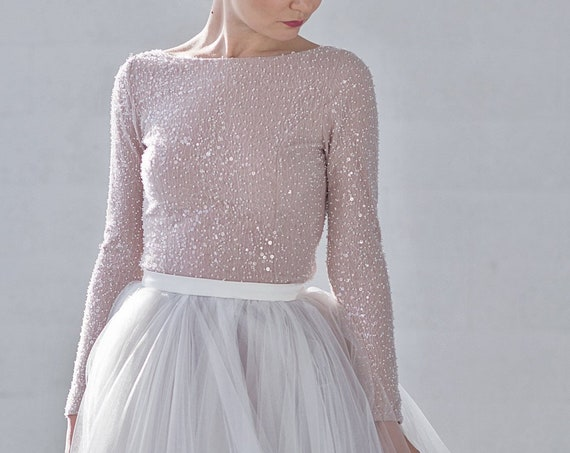 Raina - sparkly beaded bridal top / long sleeve wedding top / boat neck bridal top / winter wedding top / bateau neckline wedding top