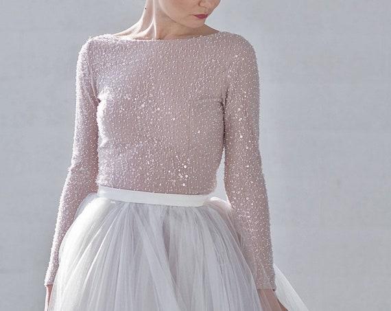 Raina - sparkly beaded bridal top / long sleeve wedding top / boat neck bridal top / winter wedding top / bateau neckline wedding top