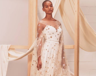 Weddings Category Winner: Etsy Design Awards 2020 - Estelle - celestial wedding dress / bridal gown with silver and gold sequin stars