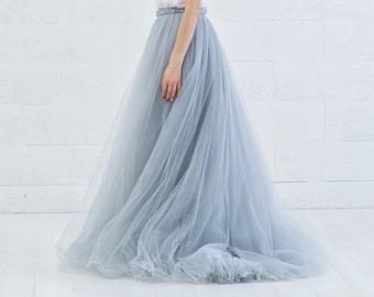 Cora - grey blue tulle wedding skirt / custom hand dyed tulle skirt / layered tulle skirt / bridal tulle skirt with a waistband braid detail