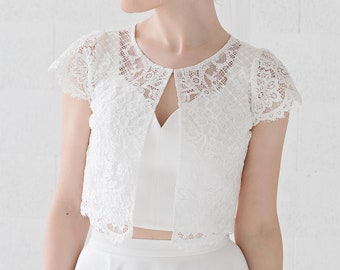 Fleur - bridal lace jacket with cap sleeves and front opening