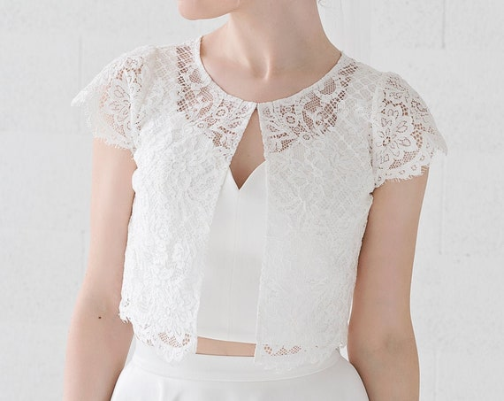 Fleur - lace bolero / bridal lace jacket with cap sleeves / wedding lace cover up with front opening / lace topper with sleeves