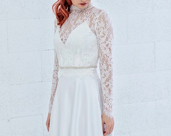 Patricia - long sleeve and high neck bridal lace jacket