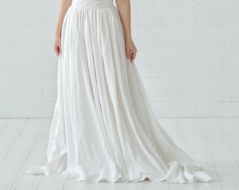Rhea - stonewashed linen wedding skirt with pockets